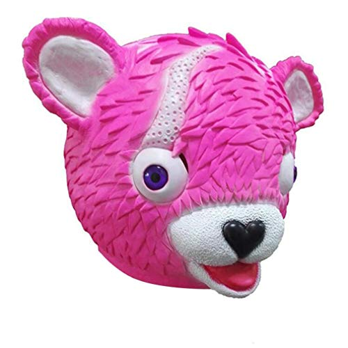 SUKEQ Scary Bear Mask, Deluxe Novelty Halloween Costume Party Latex Animal Pink Bear Head Mask for Cosplay, for Kids and Adults by SUKEQ