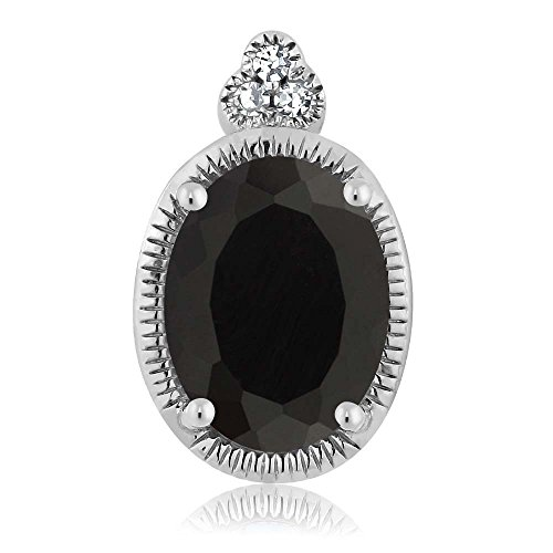 (Gem Stone King 10K White Gold Oval Black Onyx and Diamond Pendant Necklace With 18 Inch Chain 0.8 cttw)