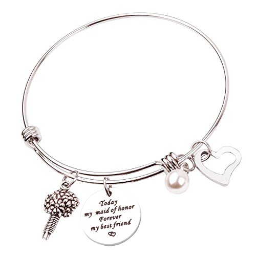 RUNXINTD Maid of Honor Bracelet Today My Maid of Honor Forever My Best Friend Wedding Gift Bridal Party Jewelry (Maid of Honor Bracelet)