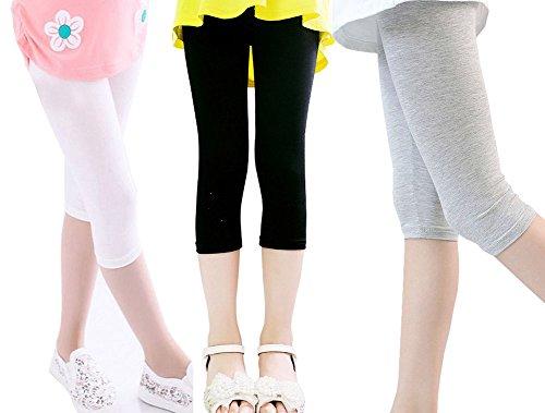 Kids Capri Leggings (Gellwhu 3pcs Kids Toddler Girls Crop Capris Leggings Tights Pants Thin 2T- 12 yrs (5-6 Years, Black&White&Gray))