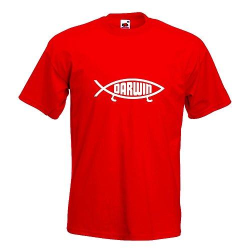 Kiwistar Fun Xl Homme Différentes En Darwin shirt Imprimé Xxl T Motif Couleurs Rouge S Poisson M Coton L 15 H0HqC1wr
