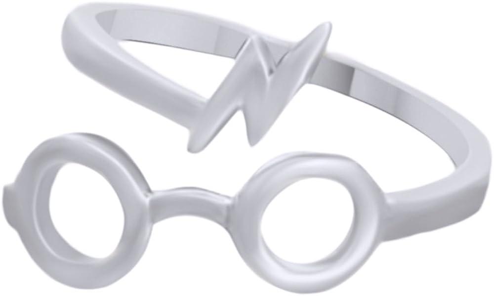 AFFY Harry Potter Glasses Lightning Bolt Open Ring in 14K Gold Over Sterling Silver