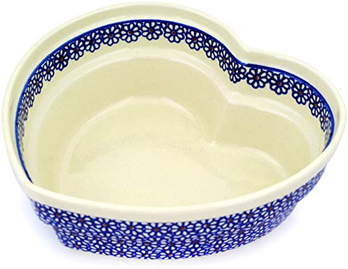 - Polish Pottery 8½-inch Heart Shaped Bowl (Daisy Dreams Theme) + Certificate of Authenticity