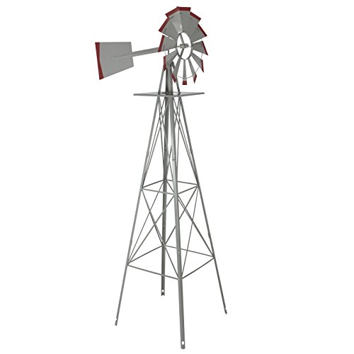 LTL Shop 8' Windmill Ornamental Garden Weather Vane Weather Resistant Silver and Red (Furniture Garden Obelisk)