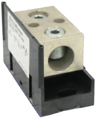Mersen 63000 Aluminum Open Style Mini Box to Box Power Distribution Block with Adder and 4 Stud, 4-14 Wire Size, 90 Ampere