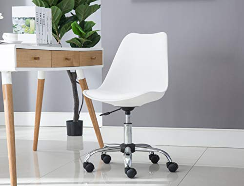 Porthos Home TFC037A WHT Teresa Chair with Adjustable Height, 360̊ Swivel with Molded Plastic Seat with Foam Cushion in PU Leather Upholstery (for Home Studios and Small Offices), One Size White