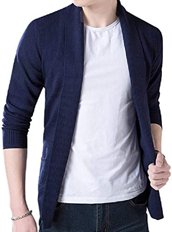 Yisism Men's Winter Thick Open Front Knit Solid Color Shawl Collar Cardigan Coat: Odzież