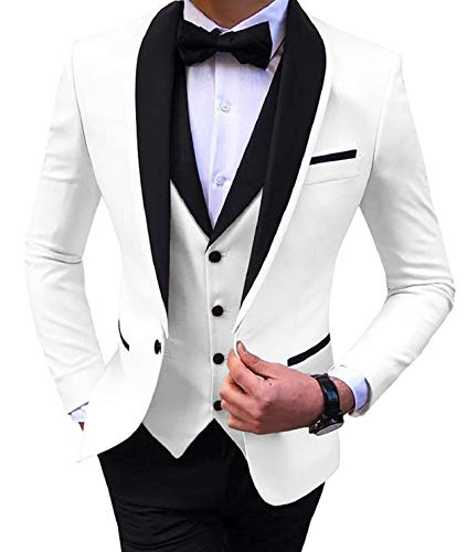 Everbeauty Wedding Dress Suits for Men Slim Fit Tuxedo for Prom 3 Piece Shawl Lapel Jacket Vest Pants Set EXZ082