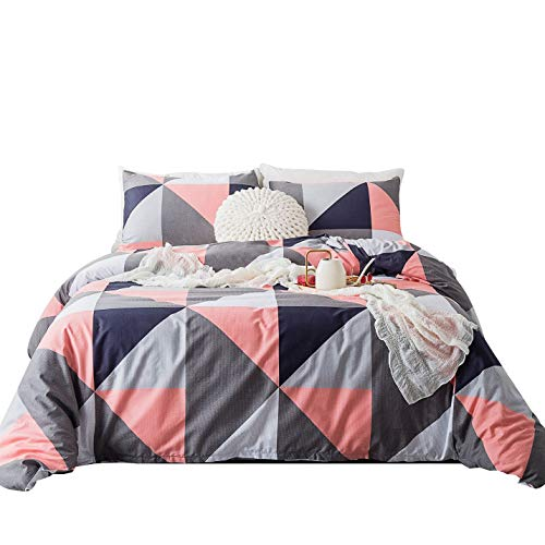 SUSYBAO 3 Pieces Duvet Cover Set 100% Cotton Queen Size Grey and Navy Geometric Bedding Set with Zipper Ties 1 Peachpuff Triangle Duvet Cover 2 Pillowcases Hotel Quality Soft Luxurious Breathable