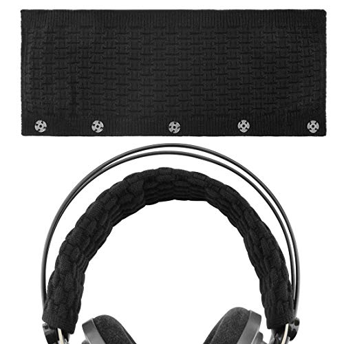 Geekria Knitting Headband Cover, Compatible with Bose, AKG, Sennheiser, Sony, Beats, Audio-Technica Replacement Headband Cover/ Comfort Cushion/ Top Pad Protector (Black Large)