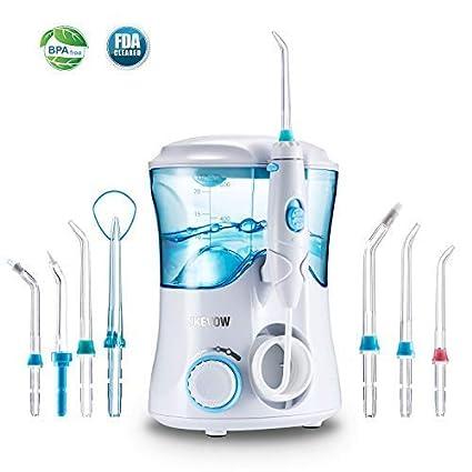 Irrigador Bucal,Jkevow Irrigador Dental limpieza Profesional con 7 Boquillas Multifuncionales 600ML de gran Tanque