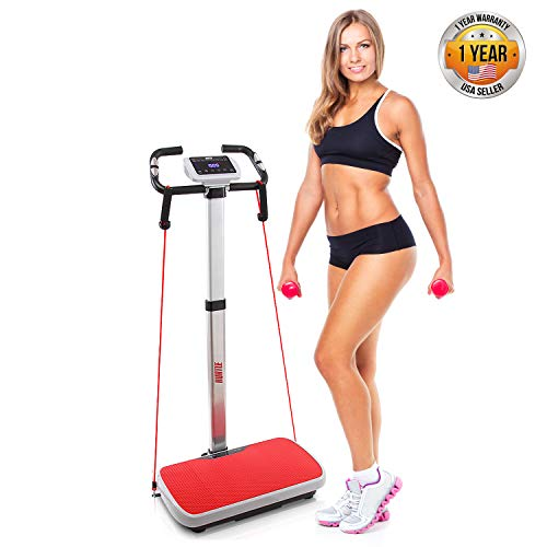Vibration Platform Trainer Fitness Machine, Fast Workout Exercise, Adjustable Time Speed Level w/ 2 Resistance Bands LCD…