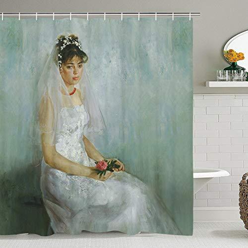 BLEUM CADE Oil Painting ShowerCurtain Beautiful Bride Holding Flowers Shower Curtain Character Shower Curtain Durable Waterproof FabricBathroom ShowerCurtain