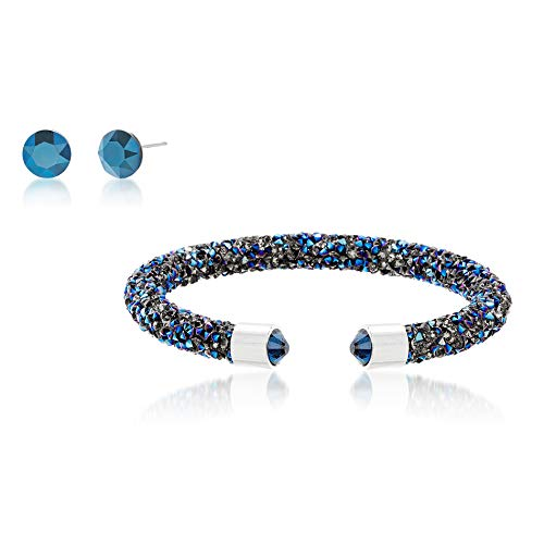 Crystal Crush Blue Crystal Cuff Bangle Bracelet for Women and 6.2mm Stud Earring Set for Women in Rhodium Plated Brass (Blue)