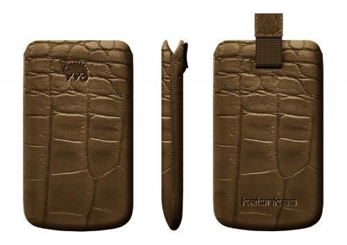 InvisibleShield Katinkas Crocodile Premium Leder Tasche für iPhone 4/4S braun