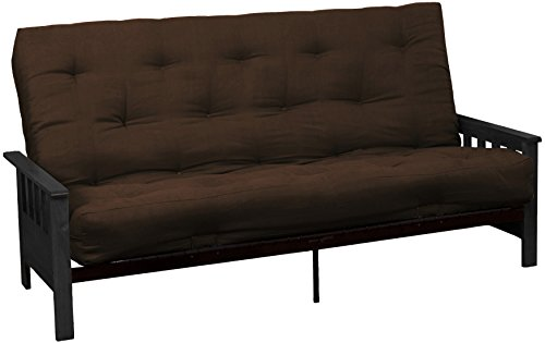 Berkeley 8-Inch Loft Inner Spring Futon Sofa Sleeper Bed, Queen-size, Black Arm Finish, Microfiber Suede Chocolate Brown Upholstery