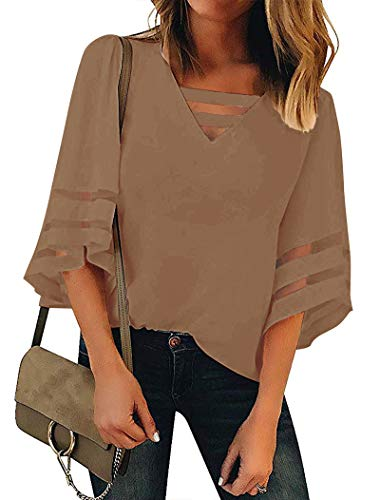 Minclouse Women's 3/4 Bell Sleeve Mesh Blouses Strappy V Neck Loose Shirts Patchwork Tops Brown ()