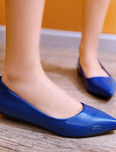 Ufficio Ballerine Finta Nero libero Blue Scarpe Verde Giallo Blu punta A Tempo pelle ShangYi Donna e Basso Rosso Casual lavoro W67XBnEA