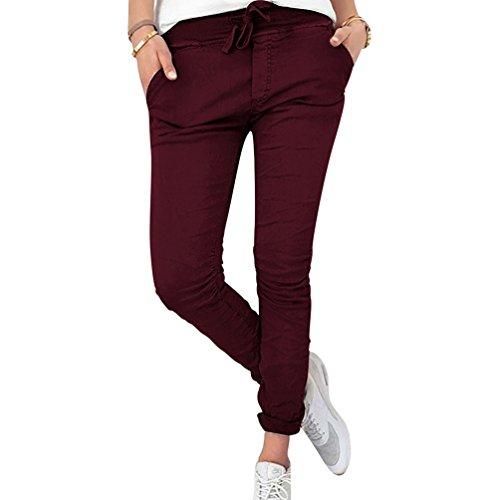 Donne A Le NiSengs Puro Elastico Per Vino Lunghi Colore Moda Matita Pantaloni Donna Matita Pantaloni Slim Casual Rosso Skinny Pantaloni wOpqnTaw