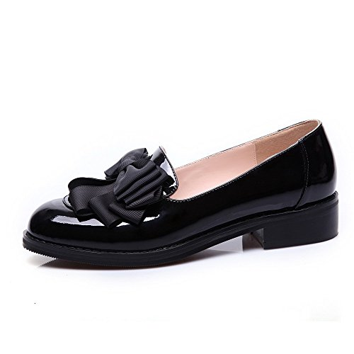 AllhqFashion Womens Closed Round Toe Cow Leather Low Heels Solid Pumps with Bowknot and Thread Black WL3gN