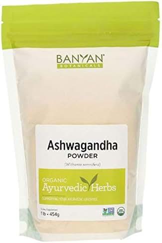 Banyan Botanicals Organic Ashwagandha Root Powder - 1 LB - Indian Ginseng - Adaptogen Supplement Promotes & Supports Vitality, Strength, Sleep, Adrenal Health, Calming The Mind & Combating Stress **