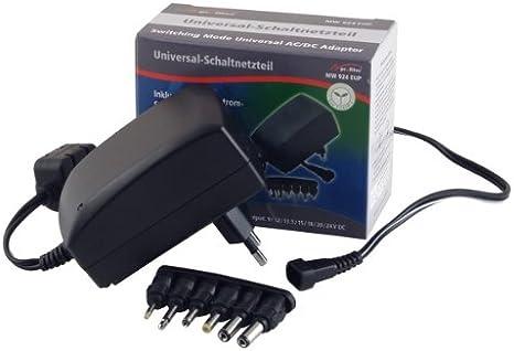 Profitec MW 924EuP–Fuente de alimentación Universal con Enchufe (CD 9V, 12V, 13,5V, 15V, 18V, 20V, 24V, 1500mA máximo, estabilizada
