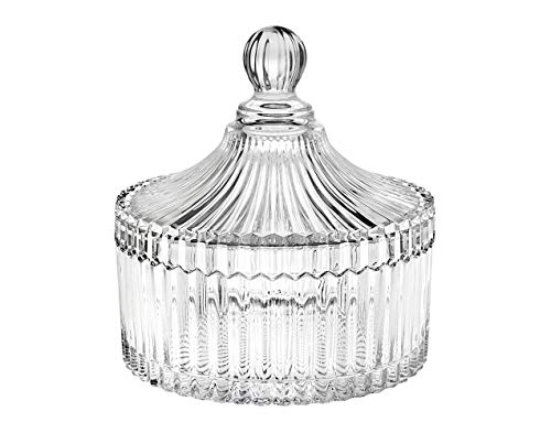 (Godinger Crystal Box with Cover Holiday Jewelry Trinket Holder, Candy Dish- Luxe)
