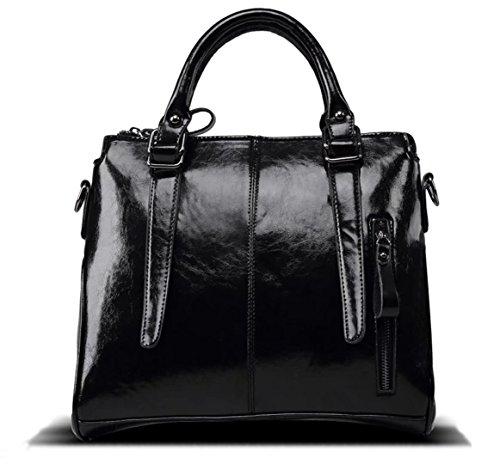 Hopeeye Fashion Trends Fourre-tout en cuir pour femme (dwpj03-1-marron) 2-noir