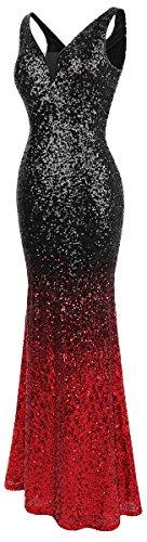 Angel Ausschnitt Gatsby Abendkleid Rot Damen Ballon Schwarz V Flapper Pailletten fashions q1q6a