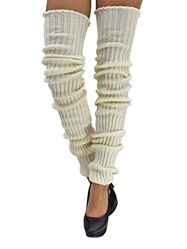 (Off-White Slouchy Thigh High Knit Dance Leg Warmers)