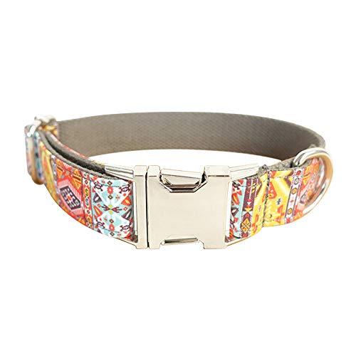 - MoAndy Premium Ployester Adjustable Dog Collar with Metal Buckle Grey Bohemia Size M