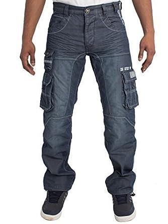 Herren Regular Fit Schwer Schwer Works Cargo Combat Utility Hose Jeans