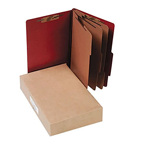 16038 8 1/2'' x 14'' Earth Red 8-Section Pressboard Classification Folder with Prong Fasteners and 2/5 Cut Tab, Legal - 10/Box