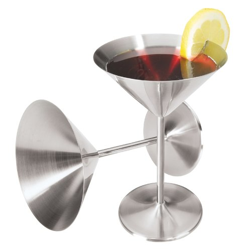 Oggi 8-Ounce Stainless Steel Martini Goblets, Set of 2 (Stainless Steel Martini Glass)