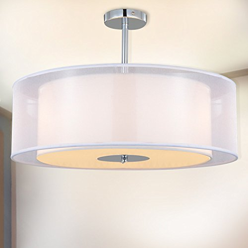 Modern Three Light Drum Pendant With White Shade in US - 8