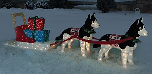 christmas 11 ft siberian huskies pulling sled w gifts holiday lawn ornament decoration amazoncouk garden outdoors