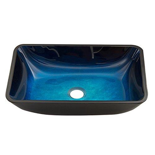 VIGO Rectangular Turquoise Water Glass Vessel Bathroom Sink