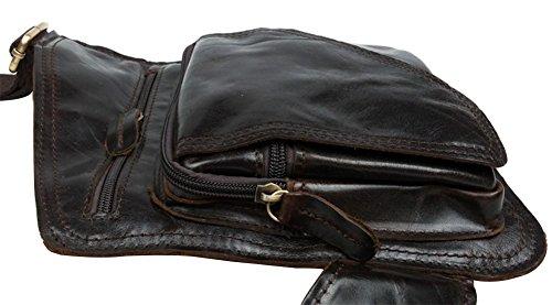 Genda 2Archer piel genuine Militar Cross-Body Pecho Paquete Bolso honda Bolsas escuela (marrón) café oscuro