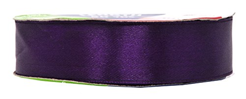 Mandala Crafts Satin Fabric Ribbon for Hair Bow Making, Gift Wrapping, Flowers, Decorations, and Weddings (1 inch 50 Yards, Purple)