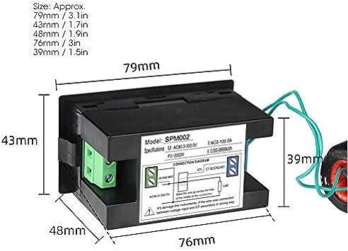 AC 220V Mini Amper/ímetro Volt/ímetro 79 x 43 x 48 mm Medidor de Energ/ía Corriente Volt/ímetro Digital Monitor Energ/ía LED CA Alta Precisi/ón Multifuncional Voltimetro Amperimetro Digital
