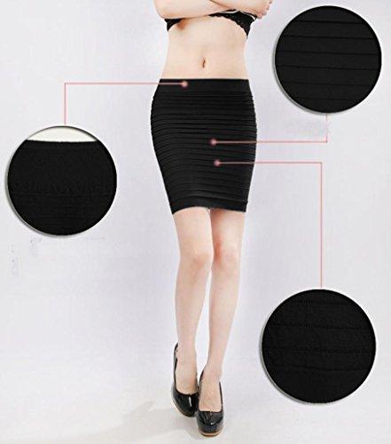 1PC Pliss Tenue Serr Jupe Taille Crayon Kolylong Femme Courte Noir Jupe Sexy D'affaires Haute lastique ATEZq