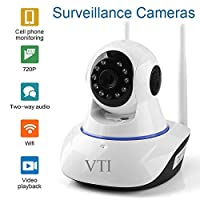 V.T.I. IP Dual Antenna WiFi Enabled Wireless Indoor Security Camera with Night Vision, 720P Resolution, Rotatable Video Remote Control View Via Smart Phone for Security Home Office
