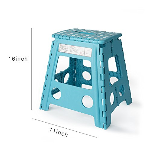 Acko 16 Inches Super Strong Folding Step Stool for Adults and Kids, Light Blue Kitchen Stepping Stools, Garden Step Stool, holds up to 400 LBS