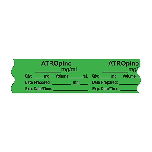 PDC Healthcare AN-2-1 Anesthesia Tape with Exp. Date, Time, and Initial, Removable,ATROpine mg/mL, 1'' Core, 3/4'' x 500'', 333 Imprints, 500 Inches per Roll, Light Green (Pack of 500) by PDC Healthcare