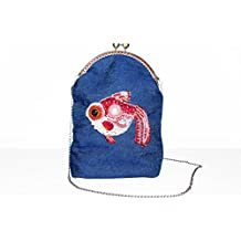 Denim Shoulder Bag on Chain Strap with Bead Embroidered Red White Fish with Kiss-Lock Clasp. Cute Teen Girl Cell Phone Handbag. Free shipping USA & Canada