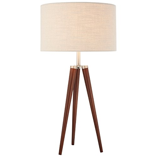 Wood Base Table Lamp - Stone & Beam Modern Tripod Table Lamp, 27.75