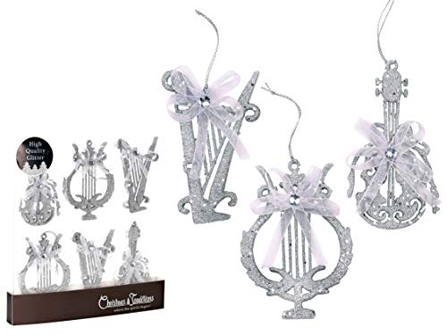 (Christmas Traditions 4 inch Silver Glittered Musical Instruments Christmas Hanging Ornaments Tree Decorations Guitar/Harp/ Lyre (Set of 6))