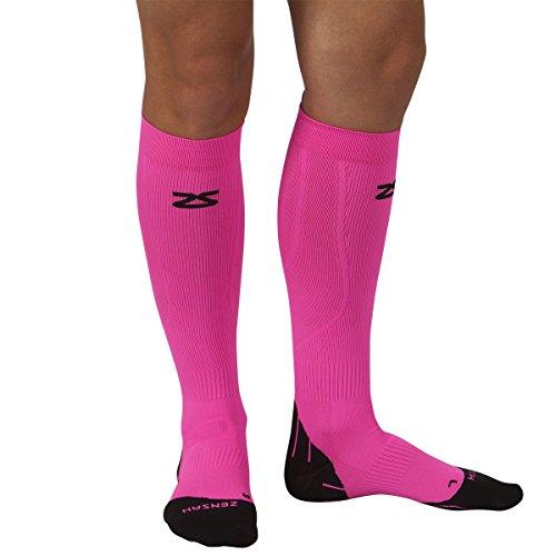 Zensah Tech+ Compression Socks, Neon Pink, Medium