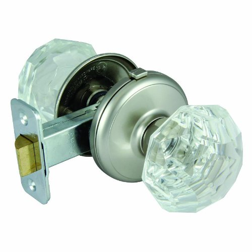 ultra hardware 83636 gainsborough sonata bed bath door knob satin nickel locking crystal door knobs amazoncom - Bathroom Door Knobs