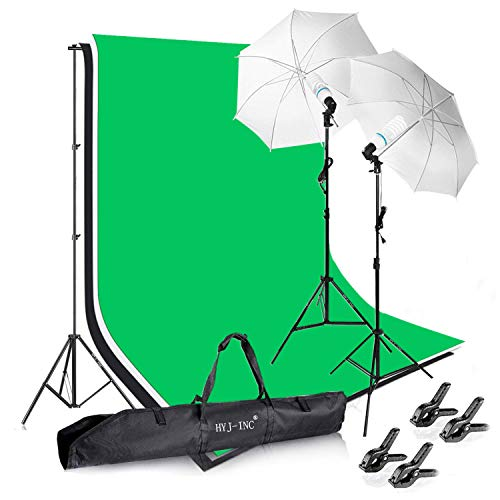 HYJ-INC Photography Photo Video Studio Background Stand Support Kit with 3 Muslin Backdrop Kits (White/Black/Chromakey Green Screen Kit),1050W 5500K Daylight Umbrella Lighting Kit with Carry Bag ()